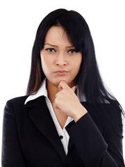 Closeup of pondering businesswoman