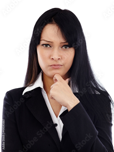 Closeup of pondering businesswoman