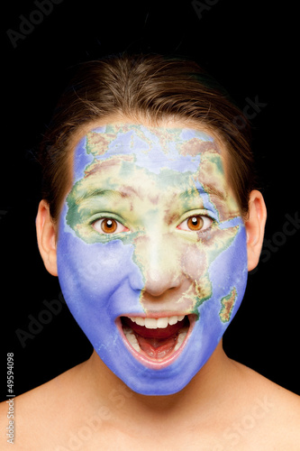 girl with african map on her face