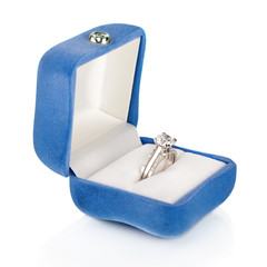 Luxury Diamond Wedding Ring in Blue Velvet Silk Box
