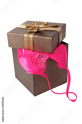 women sexy underwear with gift box Isolated on white