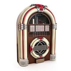 Retro vintage jukebox on a white background 3d model