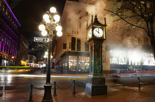 canvas print picture Vancouver steam clock in Gastown Sepia