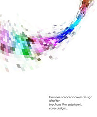 Colorful wavy mosaic banner, brochure cover design