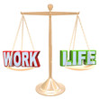 Work Vs Life Words on Scale Balancing Life Stress