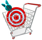 Shopping Cart Target and Arrow in Bulls-Eye