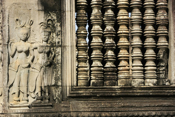 Wall bas-relief of Devatas, Angkor Wat temple, Cambodia