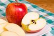 Gala apple sliced on a plate