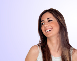 Attractive girl with long hair laughing