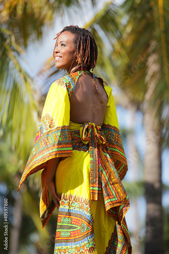 Stock image of a fashionable black woman in Miami
