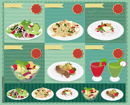 Set of food menu, Vector retro style template Design