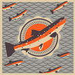 Salmon fish mascot background, vector Eps 10 illustration.