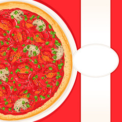 background with tomato pizza