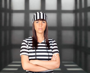 Attractive brunette prisoner