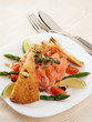 Salmon carpaccio on restaurant table