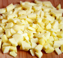 A heap of raw cut potatoes