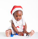 African girl, dressed as Ms. Christmas Astrix.