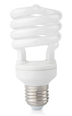 Energy saving fluorescent light bulb on white with clipping path