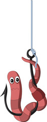 Cartoon worm on a hook