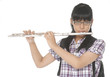 Closeup view of a young girl playing the flute