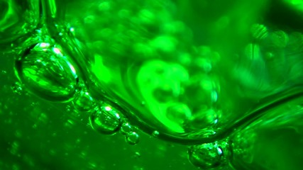 Green jelly cream and bubbles.