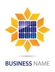 Solar Panel Logo Abstract Sunflower