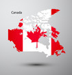 Canada flag on map