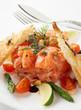 Salmon carpaccio in plate