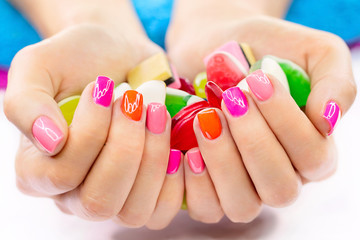 Multicolored and bright manicure