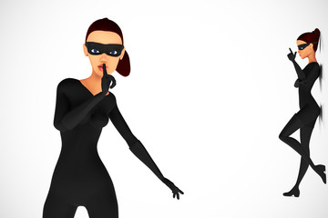 Woman thief in pose on white background