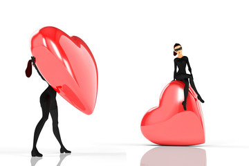 Woman thief sits over a big heart on white background