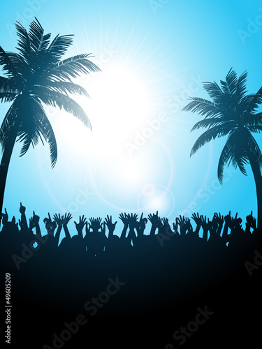 Summer festival with palm trees