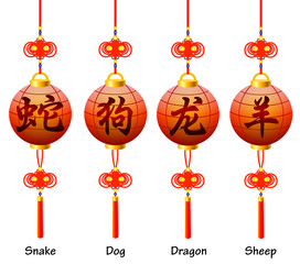 Chinese symbols on the lantern. Signs of the Zodiac.