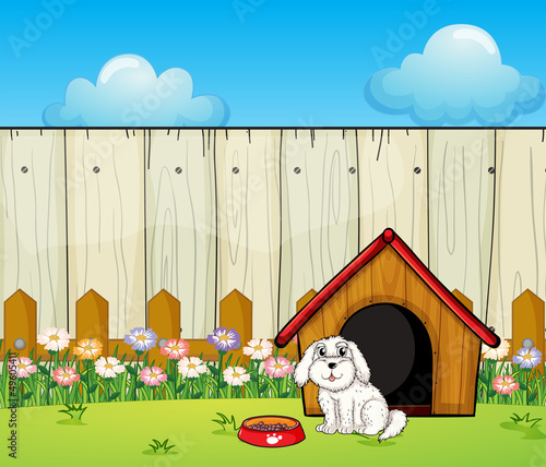 Foto op Canvas Honden A dog and the dog house inside the fence