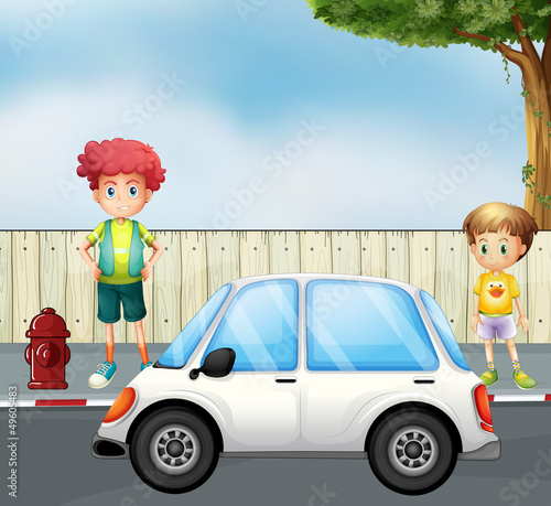 Spoed canvasdoek 2cm dik Cars A boy and a child at the street with a car