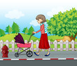 A lady with a red skirt pushing a stroller