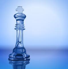 King chess piece on the mirror surface