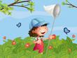 A girl with a cap catching butterflies