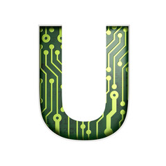 Electric curcuit board letters and numbers collection: U isolate