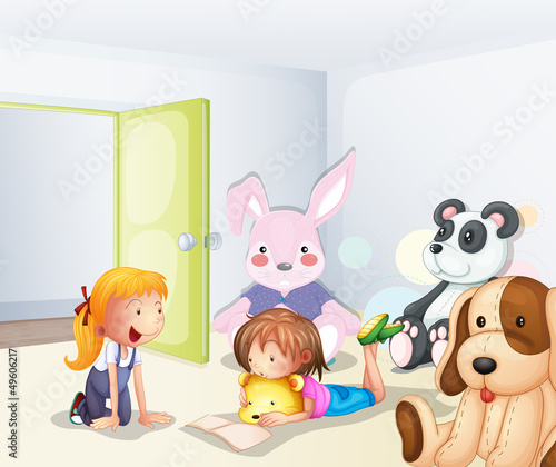 Deurstickers Beren A room with kids and animals