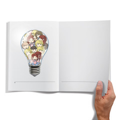 Kids inside a bulb printed on a book