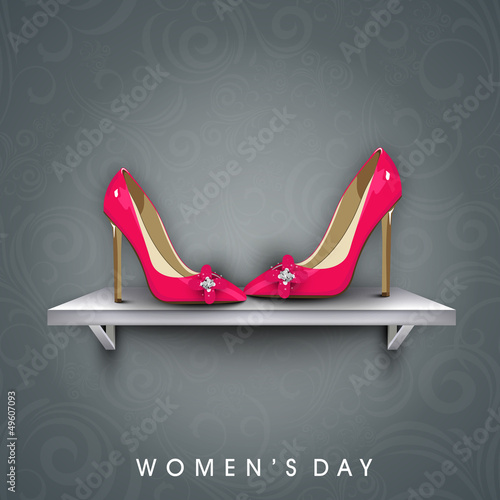 Happy Women's Day background with pair of a ladies shoe.
