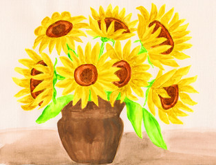 Sunflowers, gouache
