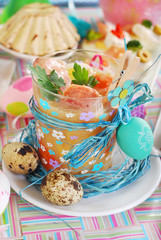 easter white borscht with quail eggs and sausage in a glass