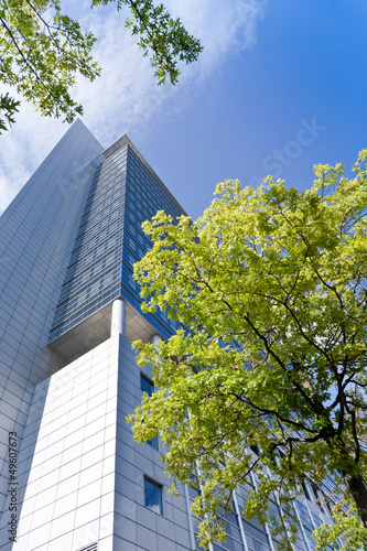 canvas print picture Hochhaus in Frankfurt - Sommer