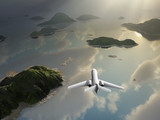 aircraft flies over a islands