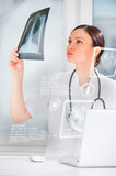Medical doctor working with hologram interface at hospital poster