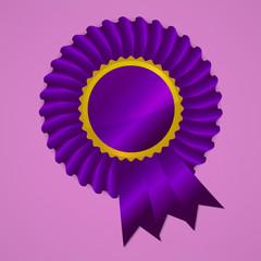 Violet award ribbon rosette on pink background