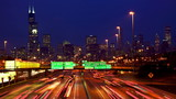Chicago skyline and traffic at dusk timelapse, IL, USA