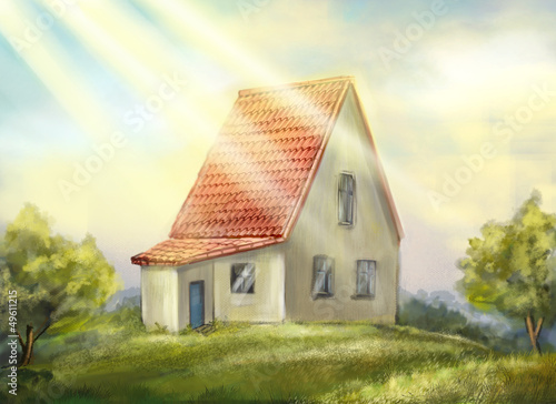 Foto op Canvas Boerderij Country house. sunny morning.